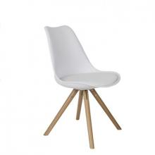 Scaun din plastic cu şezut din buretă şi  picioare din lemn, alb