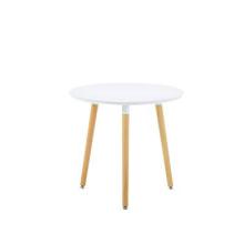Masă rotundă din MDF, picioare din lemn, 800x750 mm, alb