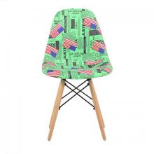 Scaun din plastic cu picioare din lemn, verde cu tematica Londra