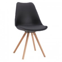 Scaun din plastic cu şezut din buretă şi picioare din lemn, negru