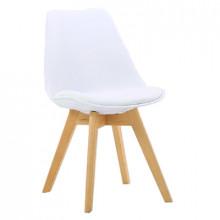 Scaun din plastic, şezut din buretă şi picioare din lemn, alb