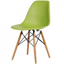 Scaun din plastic cu picioare din lemn, verde