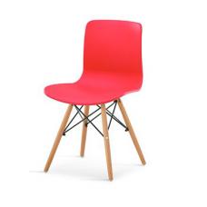 Scaun din plastic cu picioare din lemn, drept, roşu