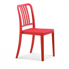 Scaun din plastic cu spate grilă verticală, roşu