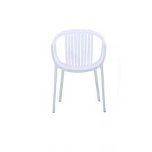 Scaun din plastic cu spate şi şezut rotund, alb