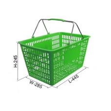 Coș din plastic (2 mânere de metal) №3, verde