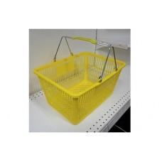 Coș din plastic (2 mânere metalice) 445x285x245, galben