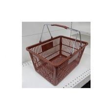 Coș din plastic (2 mânere metalice) 445x285x245, maro