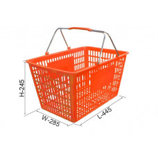 Coș din plastic (2 mânere metalice) 445x285x245, oranj