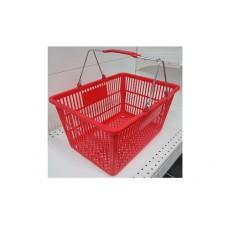 Coș din plastic (2 mânere metalice) 445x285x245, roșu