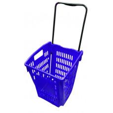 Coș din plastic pe roți (mâner din plastic) 445x285x245, albastru