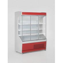 Vitrină frigorifică de perete, pentru carne/mezeluri, cu uşi din sticlă R290, cu iluminare, L=1300 mm