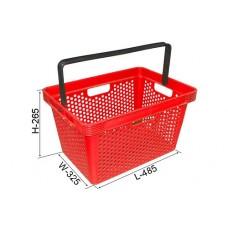 Coș din plastic (mâner din plastic) 485x325x265, roșu