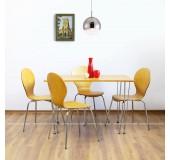 Set masă cu 4 scaune din lemn, metal și MDF, 1200x750xH740 mm, cafeniu