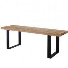 Bancă din lemn cu picioare metalice negre, 1250x400x150 mm