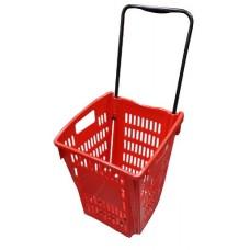 Coș din plastic cu roți (mâner din plastic) 405x390x520, roșu