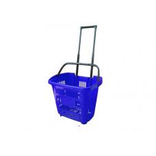 Coș din plastic cu roți (mâner din plastic) 610x380x400, albastru
