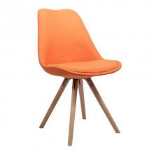 Scaun din plastic cu şezut din buretă  şi picioare din lemn, orange