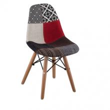 Scaun pentru copii, din plastic tapițat și picioare din lemn, 650x650x500 mm