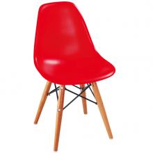 Scaun din plastic pentru copii cu picioare din lemn și suport metalic 420x400x330 mm, roșu