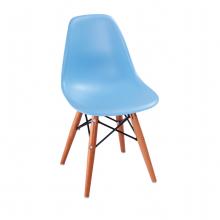 Scaun din plastic pentru copii cu picioare din lemn și suport metalic, 420x400x330 mm, albastru