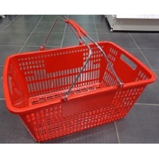 Coș din plastic (2 mânere metalice) 505x340x235, roșu