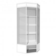 Vitrină de perete-colţ cu friz şi spaţiu de depozitare B1, 500x1210x2000 mm, 3 poliţe din sticlă